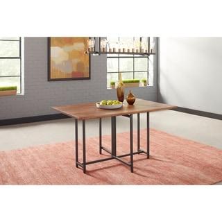 Bridgeport Warm Brown and Gunmetal Drop Leaf Dining Table
