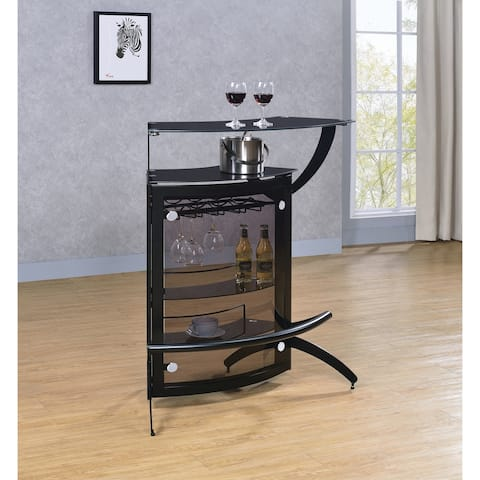Smoke and Black Tempered Glass Bar Unit