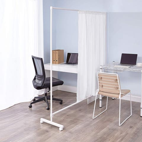 Don't Look At Me - Simplified Privacy Room Divider - White Frame with White Privacy Fabric