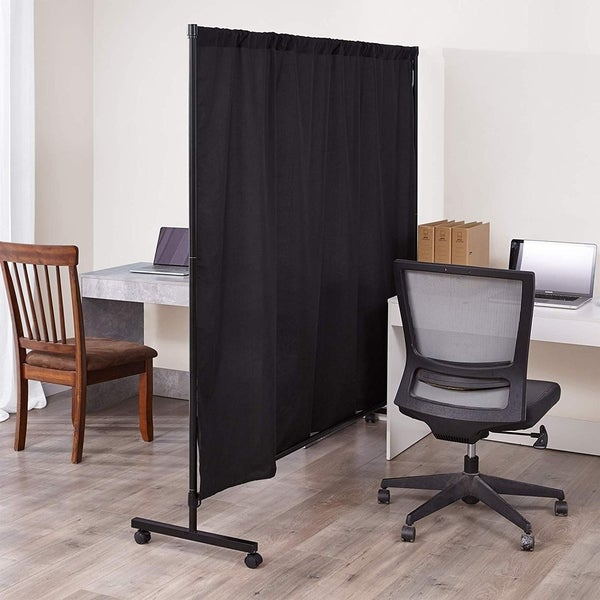 Don't Look At Me - Simplified Privacy Room Divider - Black Frame with Black Privacy Fabric