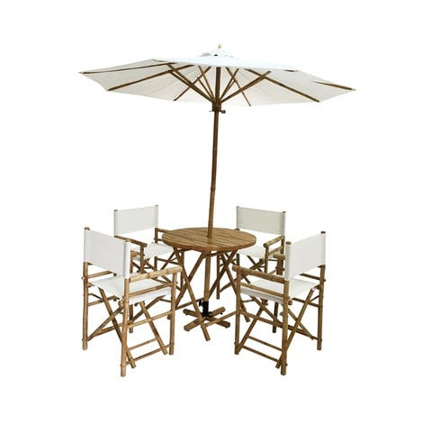 Salute 6-piece Bamboo Patio Set with Round Table and Umbrella by Havenside Home
