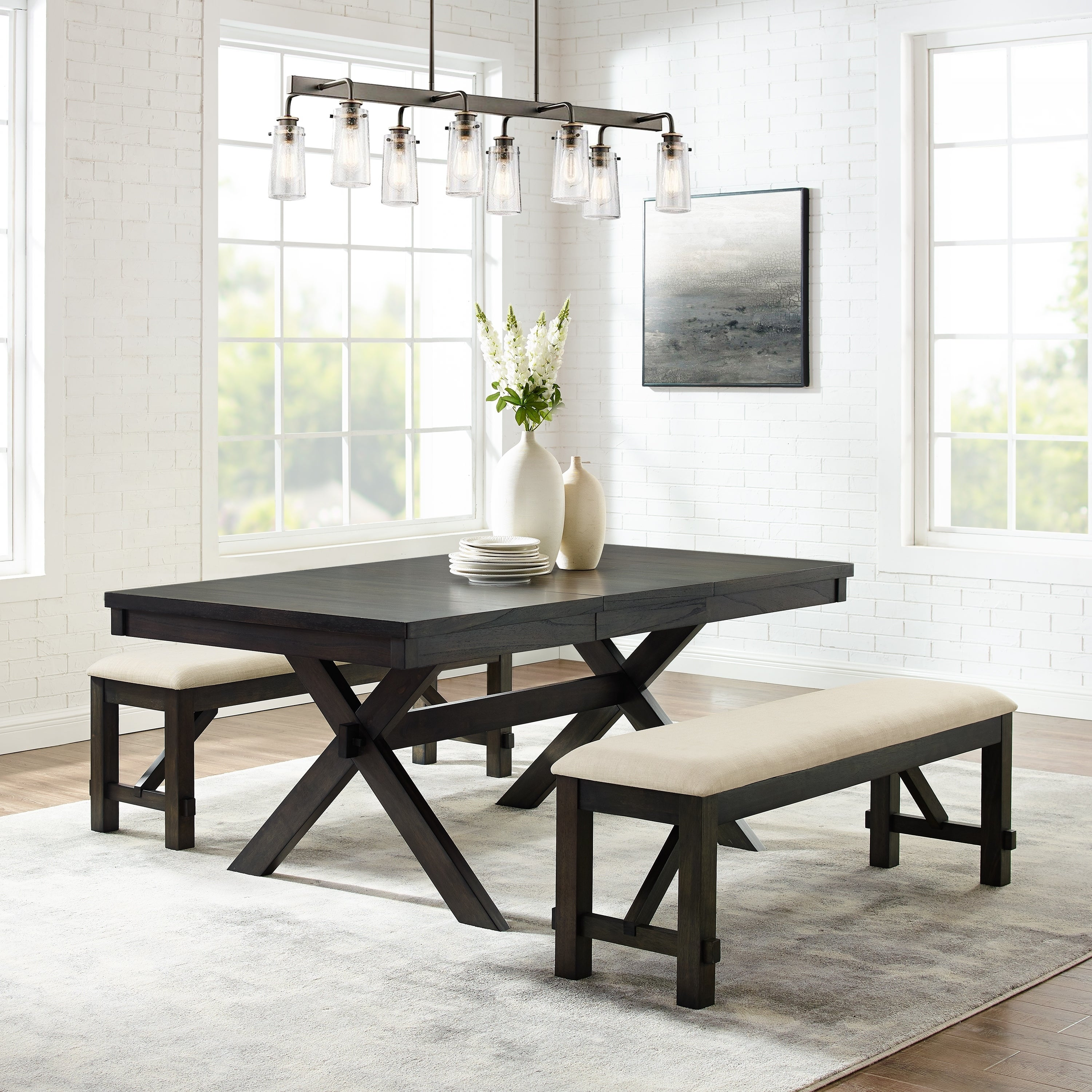Hayden 3pc Dining Set Slate Table 2 Benches