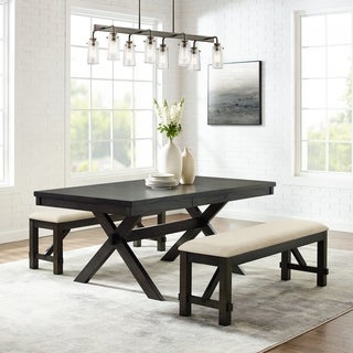 Hayden 3Pc Dining Set  Slate Table, 2 Benches