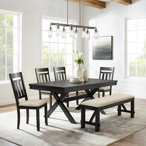 Hayden 6Pc Dining Set Slate Table, 4 Chairs, Bench
