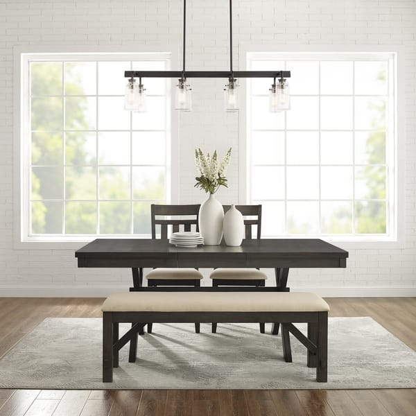 Marvelous Shop Hayden 4Pc Dining Set Slate Table 2 Chairs Bench Ibusinesslaw Wood Chair Design Ideas Ibusinesslaworg