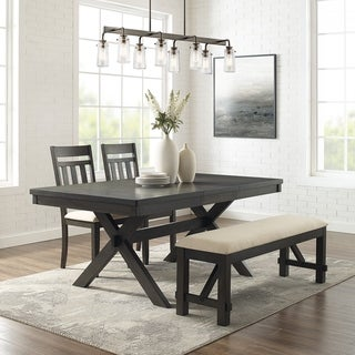 Hayden 4Pc Dining Set  Slate Table, 2 Chairs, Bench