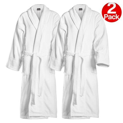 Kaufman Embroidered White Shawl Collar Robe His/Hers -Mr/Mrs -Mom/Dad -Queen/King -Papi/Mami