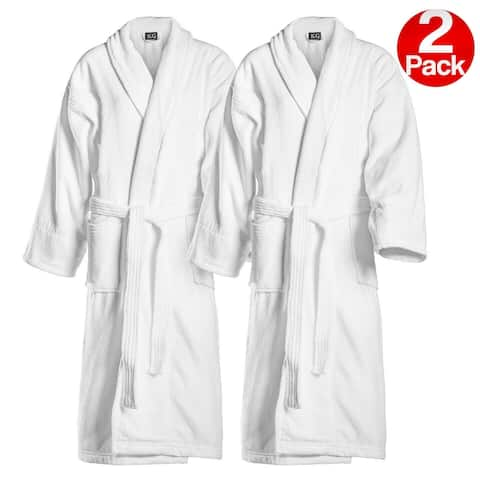 Kaufman Embroidered White Shawl Collar Robe His/Hers -Mr/Mrs -Mom/Dad -Queen/King -Papi/Mami -Groom/Bride