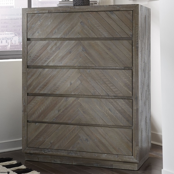 The Gray Barn Morning Star Solid Wood 5-drawer Chest in Rustic Latte