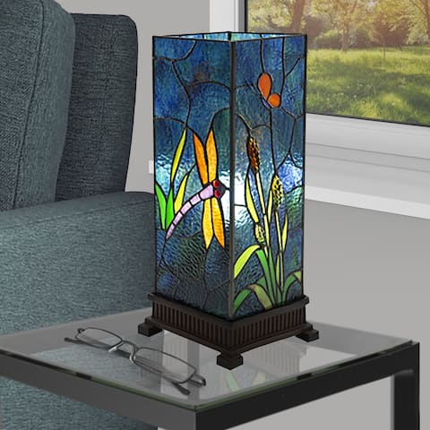 Copper Grove Bons Dragonfly Stained Glass Uplight Table Lamp (17.5 in.)