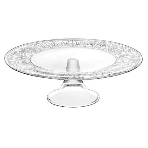"""Majestic Gifts Inc European Glass Footed Plate-Designed Border 13""""D"""