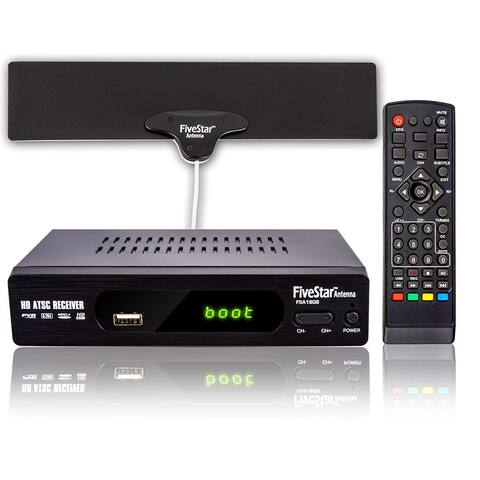 Five Star ATSC HD Digital TV Converter Box w/ 1080p HDMI Output, 40 Miles Over The Air(OTA) Flat Antenna & Amplifier