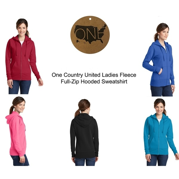 One Country United Ladies Fleece Full Zip Hooded Sweatshirt. Opens flyout.