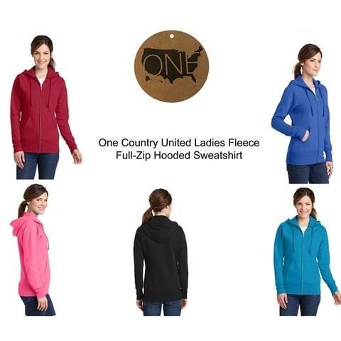 One Country United Ladies Fleece Full Zip Hooded Sweatshirt