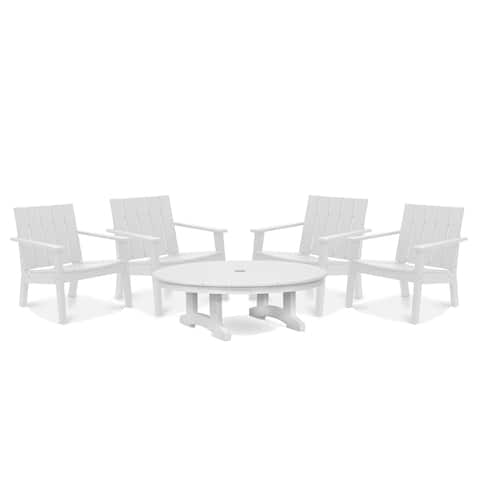 Wyndtree 5 Piece Recycled Plastic Modern Lounge Chair with Conversation Table Set