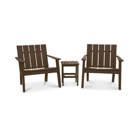 Hawkesbury 3-piece Recycled Plastic Modern Lounge Chair with Side Table Set by Havenside Home