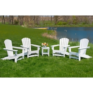 Link to Hawkesbury 4-piece Recycled Plastic Fanback Adirondack Chair Set by Havenside Home Similar Items in Outdoor Sofas, Chairs & Sectionals