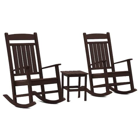 Hawkesbury 3-piece Recycled Plastic Rocking Chair with Side Table Set by Havenside Home