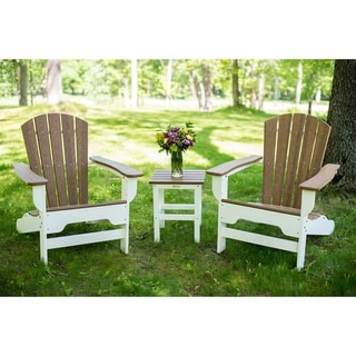 Link to Hawkesbury 3-piece Recycled Plastic Fanback Adirondack Chair with Side Table Set by Havenside Home Similar Items in Outdoor Sofas, Chairs & Sectionals