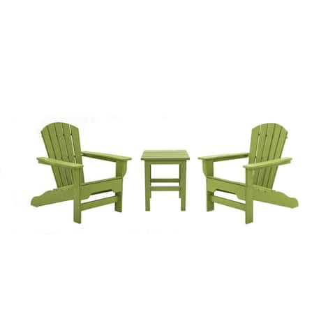 Hawkesbury 3-piece Recycled Plastic Fanback Adirondack Chair with Side Table Set by Havenside Home