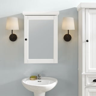 Seaside Mirrored Wall Cabinet Distressed White