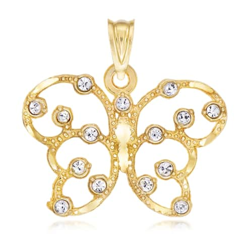Forever last 10 kt Yellow and white butterfly with crystal stones