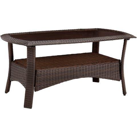 Hanover Strathmere 25-In. x 41-In. Woven Patio Coffee Table with Tempered Glass Tabletop