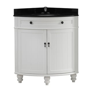 OVE Decors Esquina 24-in Bathroom Vanity Black with Granite Top