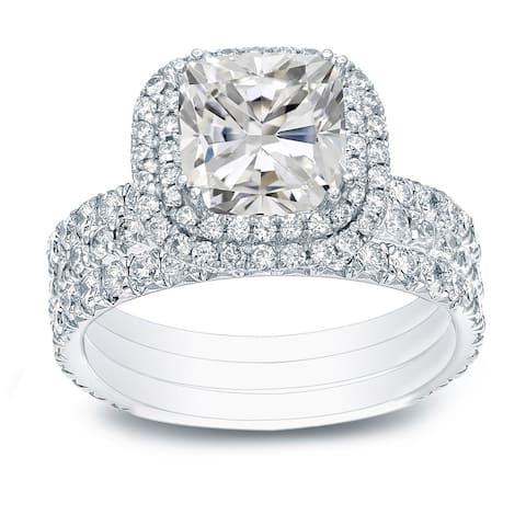 Auriya 2 1/2ctw Cushion-cut Halo Diamond Engagement Ring 3pc Set 14k Gold Certified