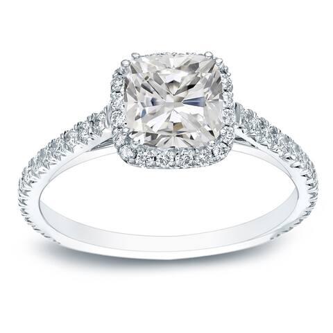 Auriya Platinum 1 1/2ctw Cushion-cut Halo Diamond Engagement Ring Certified