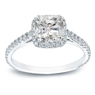 Auriya 1 1 2ctw Cushion Cut Halo Diamond Engagement Ring Platinum Certified