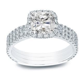 Auriya 2 1 5ctw Cushion Cut Halo Diamond Engagement Ring 3pc Set 14k Gold Certified