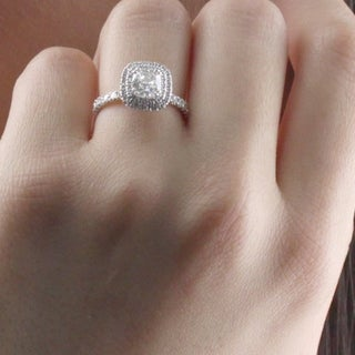 Auriya 1 3 4ctw Cushion Cut Halo Diamond Engagement Ring Platinum Certified