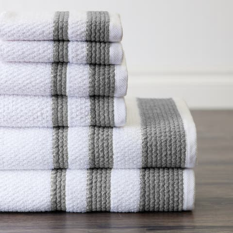 Sapphire Resort Caycee Textured Vintage Border Ensemble 6 Piece Towel Set in Frost Grey - N/A