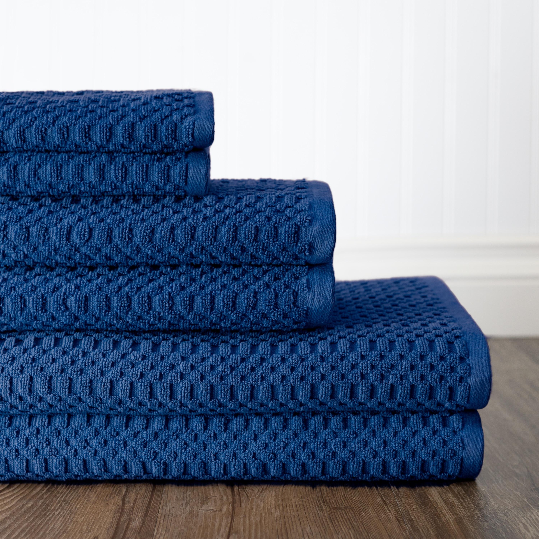 Metro 100 Cotton 6 Piece Basic Towel Set Blue Bath Towel Sets
