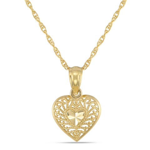 Forever last 10kt. Small diamond cut heart with chain