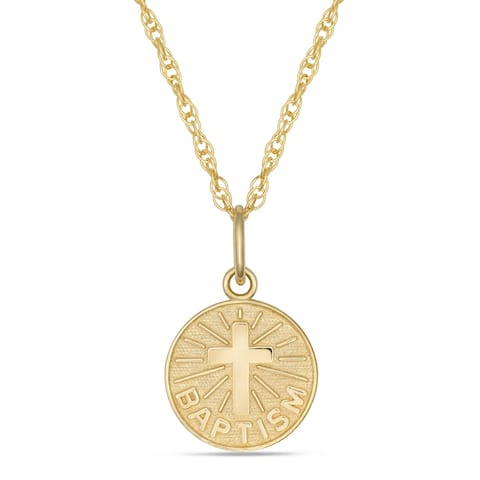 Forever last 10kt. Baptism pendant with chain