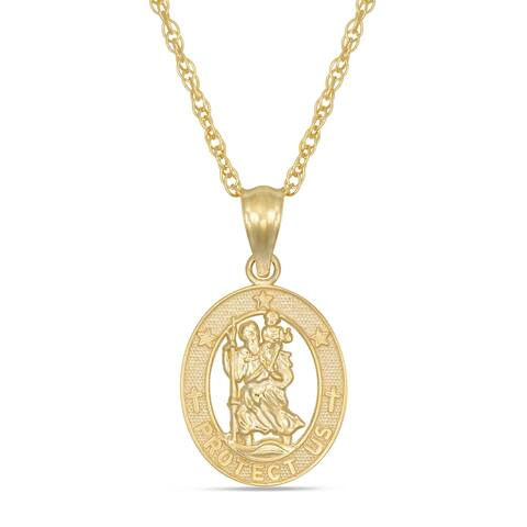Forever last 10kt. St. Christopher pendant with chain