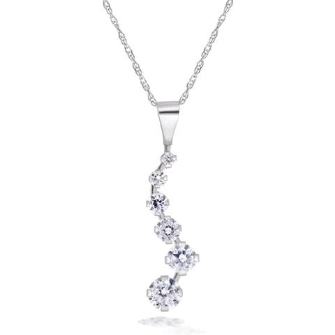 Forever last 10kt white cubic pendant with chain