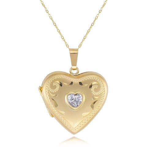 Forever last 10kt Yellow Fancy Heart w/cubic locket pendant with chain
