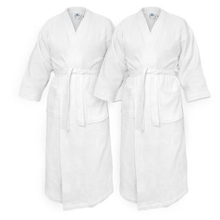 Kaufman -Waffle Kimono Bathrobes Set of 2 Embroidered Spa Robes 100 percent Cotton