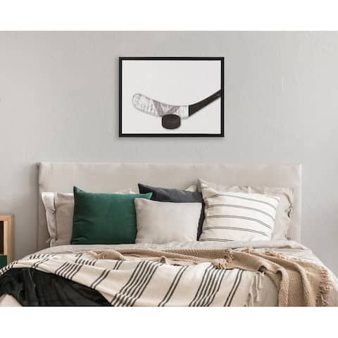 DesignOvation Sylvie Hockey Stick And Puck PortraitFramed Canvas