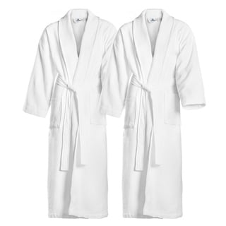 Kaufman -Waffle Shawl with Terry Lining. FREE Elegant Embroidered Bathrobes Set of Two Personalized Spa Robes.