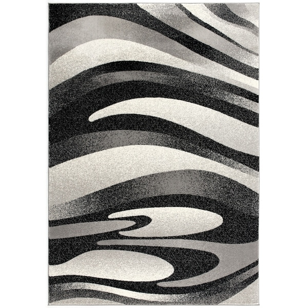Rug Branch Montage Modern Abstract Area Rug and Runner, Black Grey