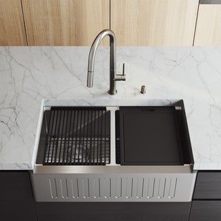 VIGO 33-Inch Double Bowl Oxford Slotted Apron Front Stainless Steel Farmhouse Kitchen Sink with Accessories