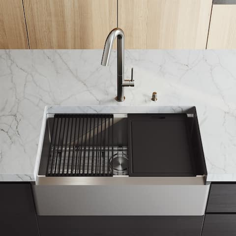 VIGO 33-Inch Oxford Single Bowl Apron Front Stainless Steel Farmhouse Kitchen Sink with Accessories