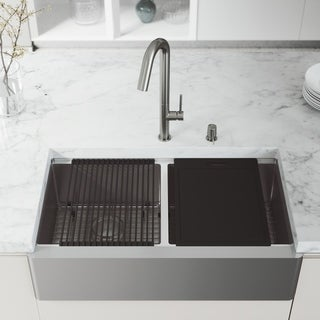 VIGO 36-Inch Double Bowl Oxford Apron Front Stainless Steel Farmhouse Kitchen Sink with Accessories