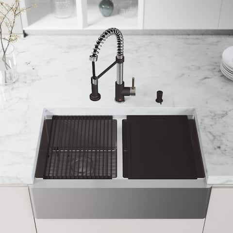 VIGO 33-Inch Double Bowl Oxford Apron Front Stainless Steel Farmhouse Kitchen Sink with Accessories