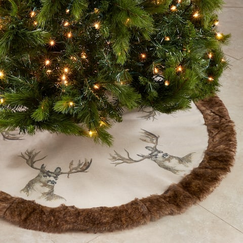 "Deer Christmas Tree Skirt With Faux Fur Trim - 52""x52"""