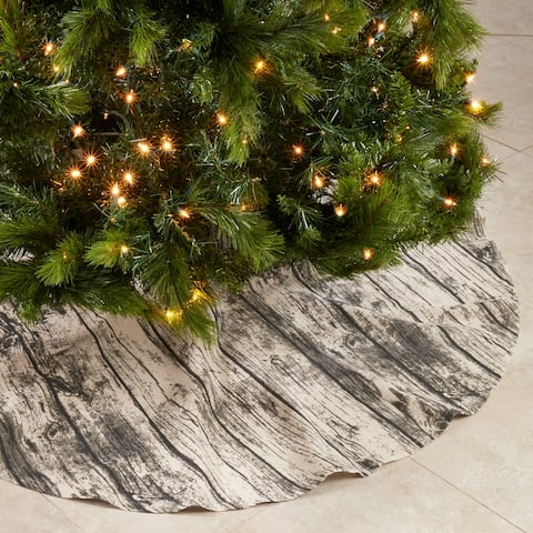 "Wood Print Christmas Tree Skirt - 58""x58"""